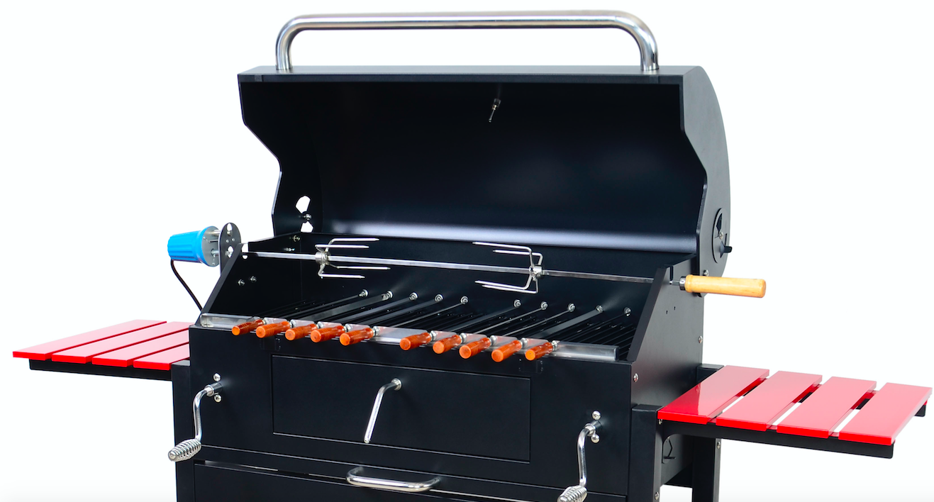 Charcoal rotisserie grill